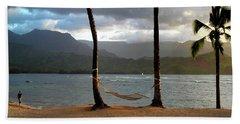 Hammock At Hanalei Bay Beach Towel by James Eddy