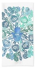 Beach Towel featuring the mixed media Hamsa Mandala 1- Art By Linda Woods by Linda Woods