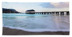Beach Towel featuring the photograph Hanalei Bay Pier At Sunrise by Melanie Alexandra Price