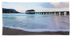 Beach Sheet featuring the photograph Hanalei Bay Pier At Sunrise by Melanie Alexandra Price