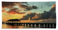 Hanalei Pier Sunset Panorama Beach Towel by James Eddy