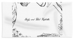 Hand Drawn Of Leafy And Salad Vegetable Beach Towel