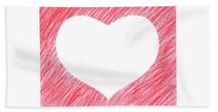 Hand-drawn Red Heart Shape Beach Towel by GoodMood Art