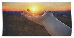 Beach Sheet featuring the photograph Hand Holding Sun - Sunset At Lapham Peak - Wisconsin by Jennifer Rondinelli Reilly - Fine Art Photography