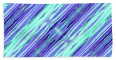 Hand-painted Abstract Stripes Teal Violet Turquoise Purple Beach Towel