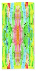 Hand-painted Abstract Watercolor In Bright Rainbow Hues Beach Sheet