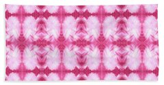 Hand-painted Abstract Watercolor In Dark Pink And White Beach Sheet