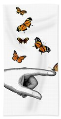 Hand With Orange Monarch Butterfly Beach Towel