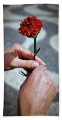 Hands And Carnation Beach Towel