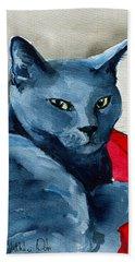 Handsome Russian Blue Cat Beach Towel