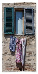 Hanging Clothes Of Tuscany Beach Sheet
