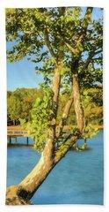 Hanging On - Lakeside Landscape Beach Towel by Barry Jones