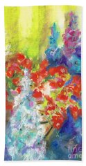 Hanging With The Delphiniums  Beach Towel by Frances Marino