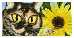 Beach Towel featuring the painting Hannah Tortoiseshell Cat Sunflowers by Carrie Hawks