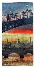 Hapenny Bridge Sunset, Dublin...27apr18 Beach Towel