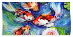 Happiness Koi Beach Towel