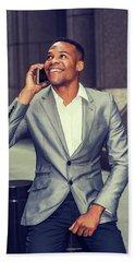 Happy African American Businessman Working In New York 15082323 Beach Towel