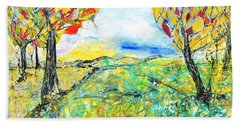 Beach Towel featuring the painting Happy Autumn by Evelina Popilian