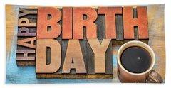 Happy Birthday Greeting Card In Wood Type  Beach Sheet