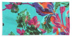 Beach Towel featuring the mixed media Happy Blooms by Writermore Arts