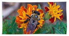 Happy Bumblebee Beach Towel by Kenneth Albin
