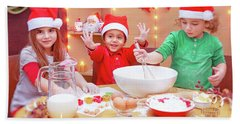 Happy Children Making Cookies Beach Sheet