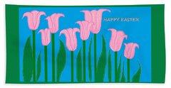 Happy Easter 1 Beach Sheet by Linda Velasquez