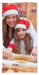 Happy Family Making Christmas Cookies Beach Sheet