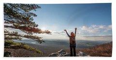 Happy Female Hiker At The Summit Of An Appalachian Mountain Beach Towel