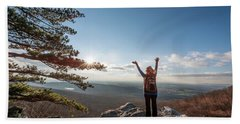 Happy Female Hiker At The Summit Of An Appalachian Mountain Beach Towel