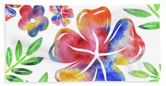 Happy Flowers Watercolor Silhouettes  Beach Towel