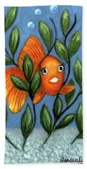Happy Goldfish Beach Towel by Sandra Estes