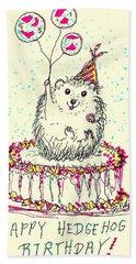 Happy Hedgehog Birthday Beach Towel by Denise Fulmer