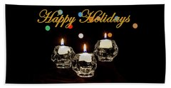 Beach Towel featuring the photograph Happy Holiday Candles by Ed Clark