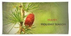 Happy Holiday Season Card Beach Sheet by Aimelle