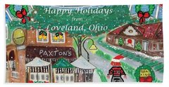 Happy Holidays From Loveland, Ohio Beach Towel by Diane Pape