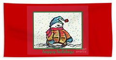 Happy Holidays Snowman Beach Sheet by MaryLee Parker