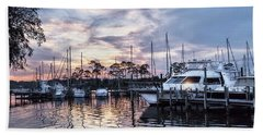 Happy Hour Sunset At Bluewater Bay Marina, Florida Beach Towel
