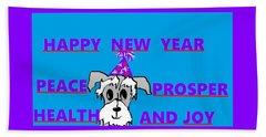 Happy New Year Beach Sheet by Linda Velasquez