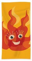 Happy Orange Burning Fire Character Beach Towel