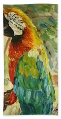 Beach Towel featuring the painting Happy Parrot by Maria Langgle