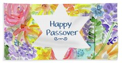 Beach Towel featuring the mixed media Happy Passover Floral- Art By Linda Woods by Linda Woods