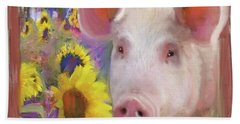 Happy Pig  Beach Sheet by Julianne Ososke