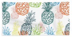 Happy Pineapple- Art By Linda Woods Beach Sheet by Linda Woods