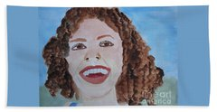 Beach Towel featuring the painting Happy by Sandy McIntire