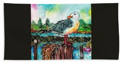 Happy Seagull Perch Beach Towel
