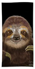 Beach Towel featuring the mixed media Happy Three Toe Sloth by Thomas J Herring