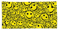 Happy Smiley Faces Beach Towel
