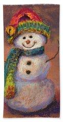 Happy Snowman Beach Towel