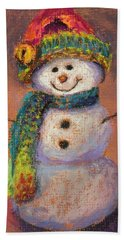 Happy Snowman Beach Towel